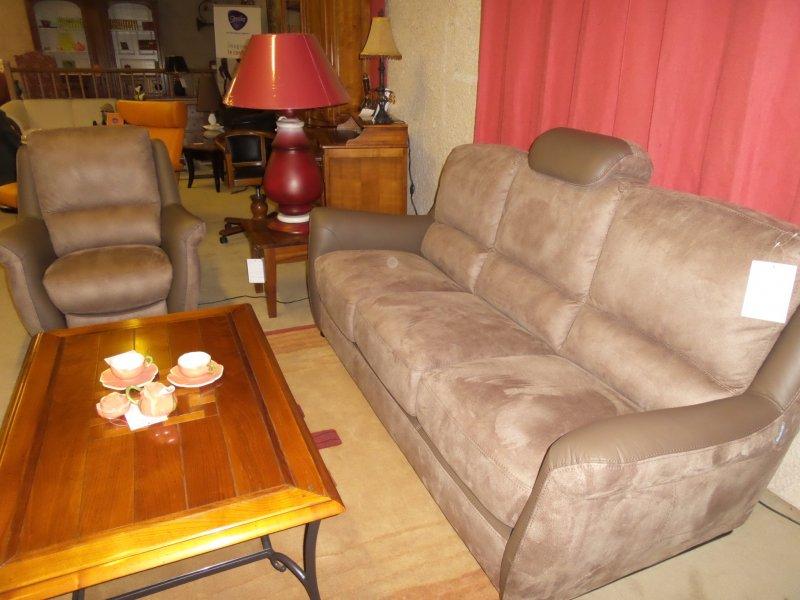 salon compos d 39 1 canap relax lectrique micro fibre et. Black Bedroom Furniture Sets. Home Design Ideas