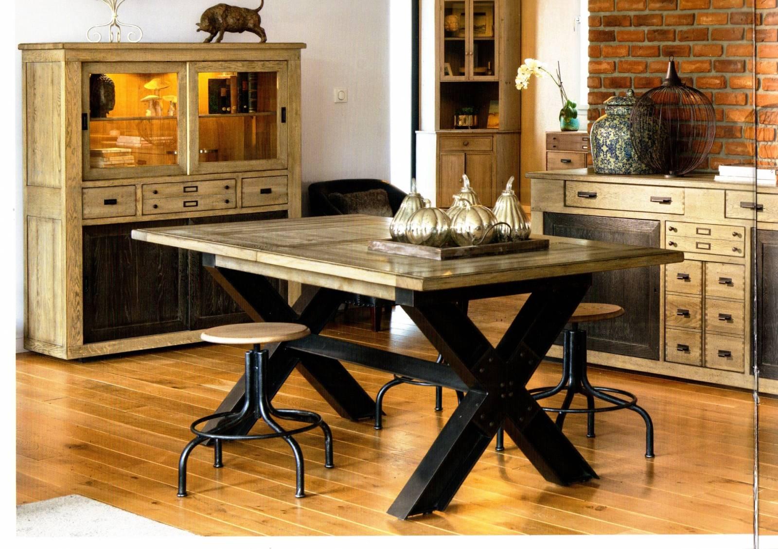 Salon Table À Manger table en chêne massif avec pied x en métal , pour salon et